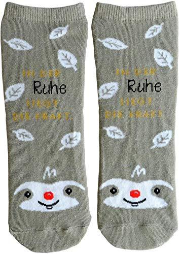 Die Geschenkewelt Happy Life 45593 Zauber-Socken mit Spruch In der Ruhe liegt die Kraft, mit Faultier Geschenk-Artikel, 80% Baumwolle, 15% Nylon, 5% Elastan, Beige, Größe 36-40