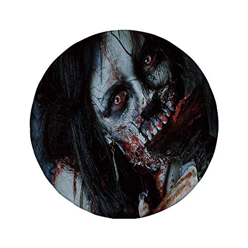 Rutschfreies Gummi-rundes Mauspad Zombie-Dekor beängstigende tote Frau mit blutiger Axt Evil Fantasy Gothic Mystery Halloween-Bild mehrfarbig 7,87 'x 7,87' x3 mm
