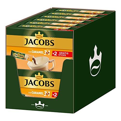 Jacobs Kaffeespezialitäten 3 in 1 Caramel, 144 Sticks mit Instant Kaffee, 12 x 10+2 Getränke