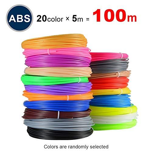 Fucaiqian CCH-YS Materiales, 1 paquete de 1 bolígrafo 3D especial ABS filamento Pla 1,75 mm Pla impresora 3D Pen plástico 20 colores ABS 1,75 sin contaminación (color: 100 m ABS 20 colores)
