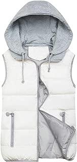 Macondoo Women's Winter Quilted Hooded Jacket Zip Waistcoat Vest
