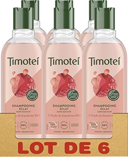 Timotei Shampooing Femme Eclat à l'Huile de Framboise bio et thé blanc, Douceur,...