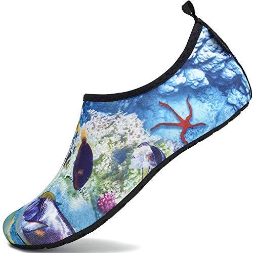 SAGUARO Hombre Mujer Zapatos de Agua Playa Escarpines Zapatillas de Deportes Acuáticos Buceo Surf Snorkel Yoga Piscina, Azul 40/41