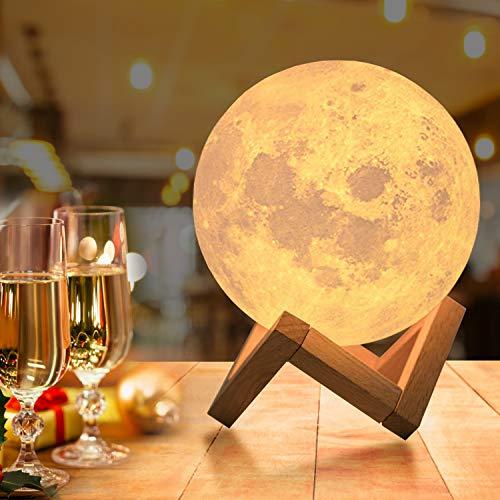 15cm Lampada Luna 3D Stampata, OxyLED Piena Lampada Moon Luna con Diametro16 Colori, Ricarica USB Decorativo LED Luce Notturna Toccare il Controllo, Decoro per Stanza Letto Mood Light per Camera