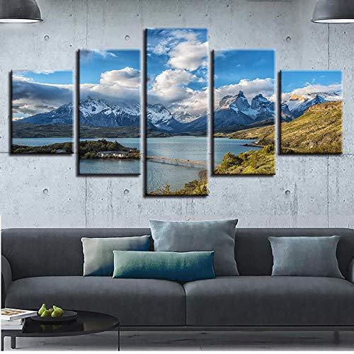 Adiccc Cuadro en Lienzo Modular, Impresiones artísticas de Pared, 5 Piezas, imágenes de montañas y ríos, Cartel del Parque Nacional Torres del Paine, decoración
