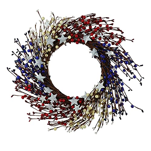 FXforer 20Inch Berry Twig Door Wreaths,Artificial Twig Spring Autumn Wreath,Rustic Twig Red Berry Wreath,Farmhouse Grapevine Twig Garland for for Front Door Wall Window Fireplace Home Decor