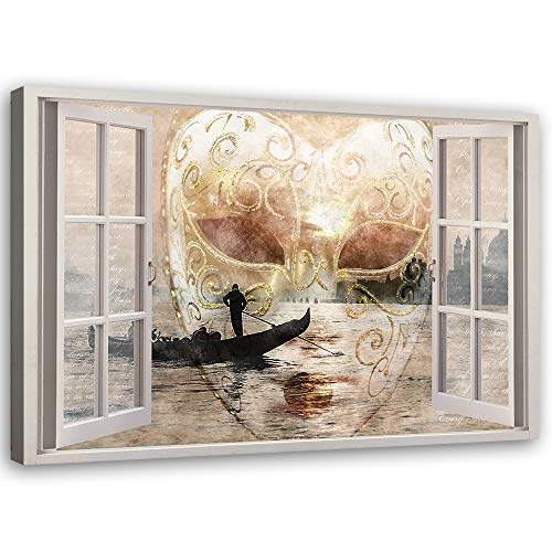Feeby Cuadros en Lienzo Venecia Arte Moderno 3D Ventana Beige 90x60 cm