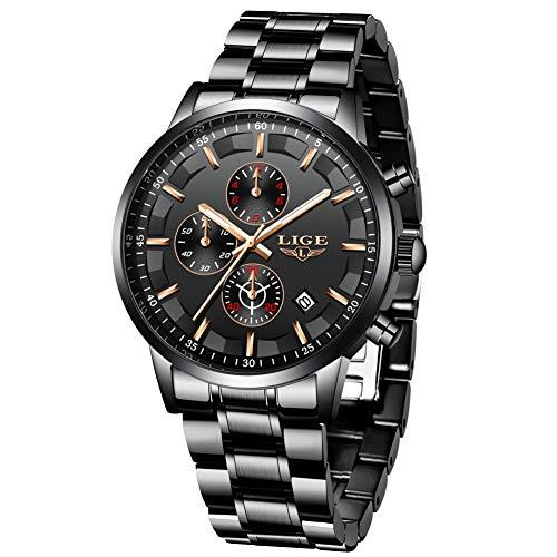 LIGE Relojes para Hombres Deportes Militares Reloj de Negocios de Acero Inoxidable a Prueba de Agua para Hombre con Fecha analógica de Cuarzo Reloj