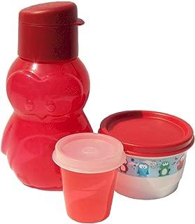 Tupperware Red Penguin Mini Sports Bottle Eco Animals Snack Cup Midget Set