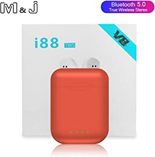 M&J i88 TWS Wireless Bluetooth 5.0 earphone Earbuds Sports Gaming Headsets headphones For i10 tws i12 i30 i60 tws Iphone Xiaomi (Orange)