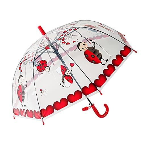 yui Paraguas tipo campana Apolo paraguas automático recto creativo dibujos animados lindo paraguas para niños luz transparente animales insectos paraguas playa (color: rojo)