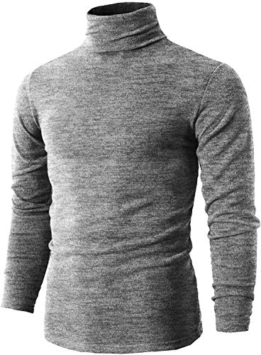 QEETUNG Men#039s Turtleneck Casual Slim Fit Basic Tops Knitted Thermal Pullover Sweater Grey Small