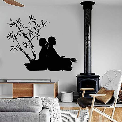 Yoga pegatinas de pared meditación meditación poses budistas vinilo pegatinas de pared dormitorio relajante decoración del hogar murales de arte de bambú