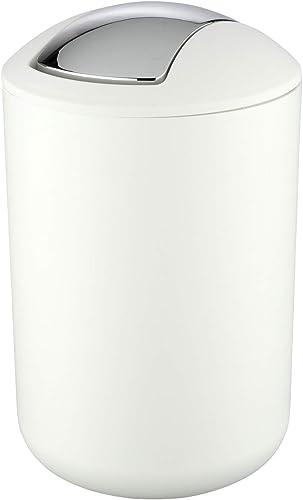 WENKO Cubo con tapa oscilante Brasil L blanco - apruebaderotura Capacidad: 6.5 l, Plástico (TPE), 19.5 x 31 x 19.5...