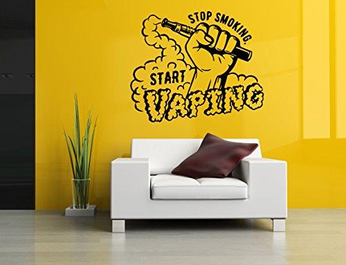 Wall Vinyl Sticker Decal Stop Smoking Start Vaping Quote Vaporizer Vape Pen Store Shop Smoke E Cigarettes Liquid Coil Indoor Outdoor Sign Logo SA742