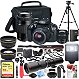 Canon EOS Rebel T6 DSLR Camera with 18-55mm is II and 75-300mm III Double Zoom Kit Bundle with 500mm Preset Telephoto Lens, 32GB Memory Card, 58mm Filter Set and Accessories (13 Items)