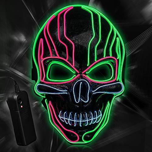 YALANLE LED Maske Purge Maske für Halloween Fasching Karneval Party Kostüm Dekoration Halloween Maske (Rosa + Weiß + Leuchtendes Grün)
