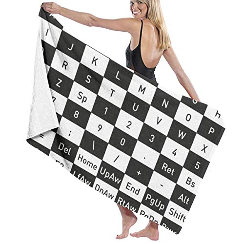Toalla de playa para teclado de ordenador, suave, cómoda y extremadamente absorbente, 80 x 130 cm