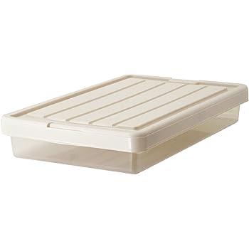 天馬(Tenma) 収納ボックス フィッツケース スリムボックス カプチーノ 幅44×奥行74×高さ12-14cm