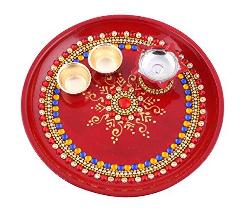 Itiha Indian 8 inch Traditional hand painted steel decorative pooja thali beautiful festive ethnic/haldi kumkum holder / Diwali / indian handicraft / home / temple / office / wedding gift