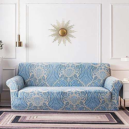 Fundas de sofá Estampadas Elástica,Patrón de Lago Azul 2 Plazas Antideslizante Ajustables Funda de Sofá,Universal Poliéster Protector Cubierta de Muebles,+2 Funda de Cojín