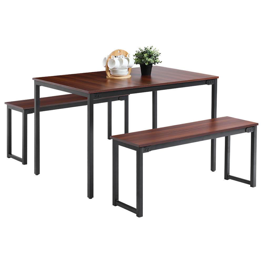 Oudort Dining Room Table Set Modern Soho Dining Table With Two Benches Large Farmhouse Kitchen Table And Benches For 4 Person Outdoor Industrial Style Room Table Home Kitchen Furniture Brown Buy Online