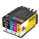 Clorisun 953 XL Cartucce d'inchiostro per HP 953XL 953XL Multipack Nero Ciano Magenta Giallo per HP OfficeJet Pro 7740 7720 8715 7730 8210 8710 8730 8218 8720 8725 8740 8728 8718(4 Pezzi)