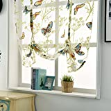 Hankyky 120 x 120 cm de gasa cortinas con estampado de mariposas, cortinas romanas florales, cortinas de gasa transparente para ventana, persianas, bolsillo para barra