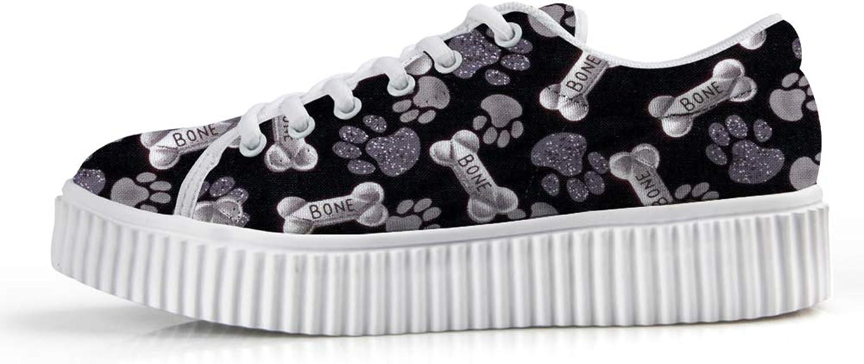 Owaheson Platform Lace up Sneaker Casual Chunky Walking shoes Low Top Women Bones Dog Paw Prints