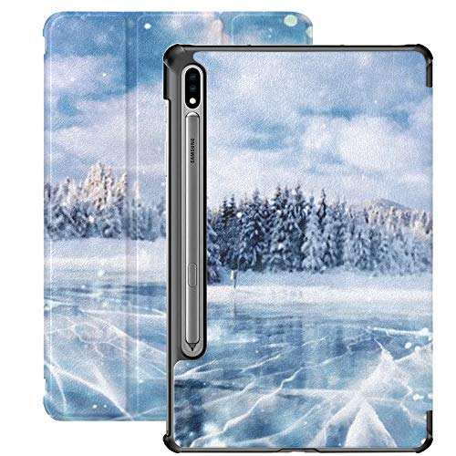 Funda Galaxy Tablet S7 Plus de 12,4 Pulgadas 2020 con Soporte para bolígrafo S, Grietas en la Superficie Funda Protectora Tipo Folio con Soporte Delgado Blue Ice Frozen para Samsung