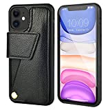 iPhone 11 Wallet Case, ZVEdeng iPhone 11 Case with Credit Card Holder Magnetic Flip Case Rotational Phone Case Leather Protective Cover for Apple iPhone 11, 6.1inch-Black