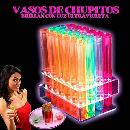 45 chupitos luz Ultravioleta Neon Colores Variados - Plástico Duro Vasos de Chupito, de Colores - Fiesta Fluorescente
