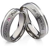 frencheis Titanringe Verlobungsringe Eheringe Trauringe Hochzeitsringe aus Titan und 925 Silber mit Rhodolite und persönlicher Lasergravur...