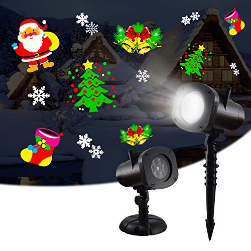 WOLFTAIL Weihnachten Projektor Lichter Drehbare LED-Lampe mit 12 Themen, Gartenlampe für Weihnachten Halloween Kinder Geburtstag, Innen- / Außeneffektleuchte für Schwimmbad, Baumhaus etc. - Schwarz