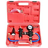 JIFETOR Cooling System Vacuum Purge Radiator Coolant Refill Tool Kit, Universal Automotive Water Tank Pneumatic Vacuum Antifreeze Change Filler Set, with Adapter Case Hose for Car Van SUV Truck