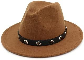 HongJie Hou Felt Wide Brim Gambler Fedora Hat Skull Rivet Leather Decoration Men Women Panama Jazz Formal Top Hat
