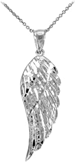 Religious Jewelry by FDJ Textured 14k White Gold Angel Wing Charm Pendant Necklace