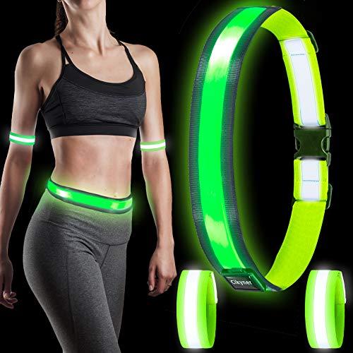 Cikyner USB Rechargeable Led Reflective Belt, Night Running Lights for...