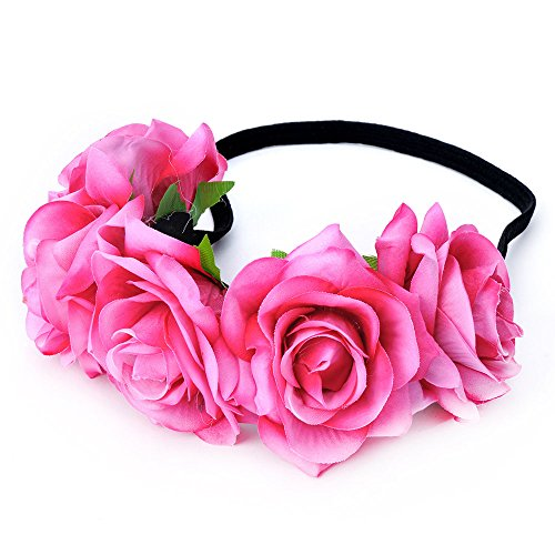 DreamLily Rose Flower Crown Wedding Festival Headband Hair Garland Wedding Headpiece (1-Fuchsia)