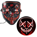 WUJO LED Halloween Mask,EL Wire Scary Costume Glowing Mask Light up for Festival Party (red)