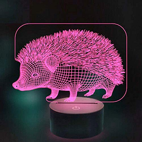 3D LED igelkott nattlampa, 7 färger variabel färg, pekbrytare, sovrumsbord dekorationslampa