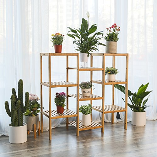 SONGMICS Bamboo Customizable Plant Stand Shelf Flower Pots Holder Display Rack Utility Shelf Bathroom Rack 9-Tier Storage Rack Shelving Unit UBCB93Y