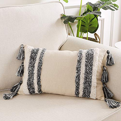Ailsan Boho Pillow Cover with Tassels 12 x 20 Inch Tribal Woven Decorative Throw Pillow Covers Striped Tufted Lumbar Pillowcase Soft Sham Cushion Case for Sofa Bed Couch Living Room Car