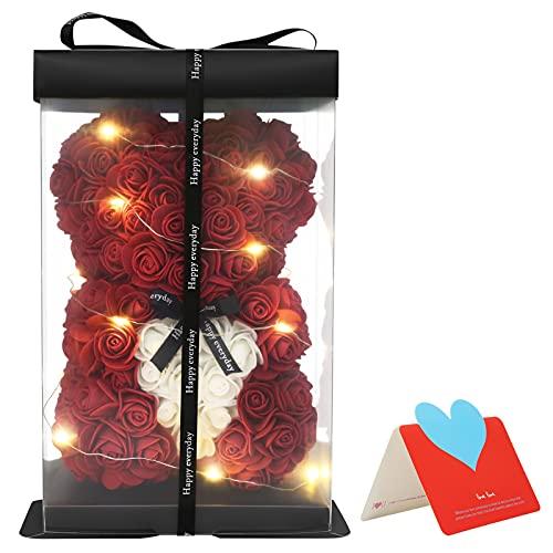 Delisouls Oso Rosas Regalo, Oso de Flores con Una Caja de Regalo Transparente con Barra de luz, Oso de Flores Artificiales Regalo Adornos para de Cumpleaños San Valentín Aniversario Regalo