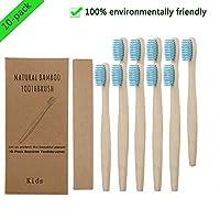 SFE 10pcs 竹歯ブラシ 子供用歯ブラシ 天然竹炭 ソフト 柔らかい 環境に優しい 竹炭歯ブラシ 出張用 携帯用 旅行用 単一の独立した箱入り