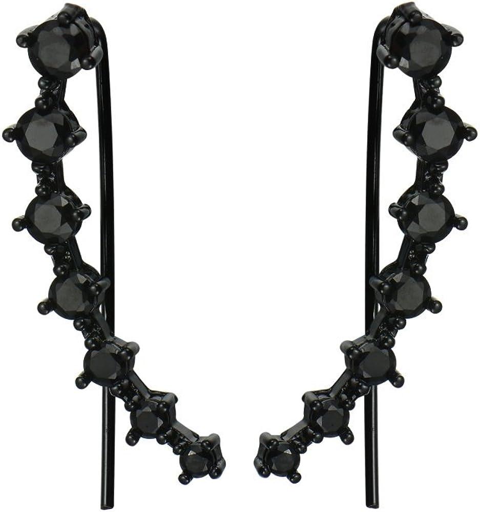 2Pairs Set Black Clear 7 Crystal CZ Ear Cuff Wrap Crawler Climber Earrings for Women Girls Cubic Zirconia Fashion Diamond Huggie Jackets Hypoallergenic