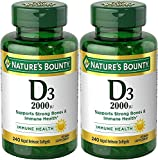Nature's Bounty Vitamin D-3, 2000 Iu, 480 Softgels (2 X 240 Count Bottles) (Packing may vary)