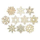 LUOEM 10 unids Surtido de Copos de Nieve de Madera Formas Recortes Artesanía Adorno Regalo Etiqueta Adornos de Madera para Weding Navidad hogar Bricolaje