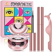 Magnetische Wimpern und Eyeliner Set,Wimpern Magnetisch Eyeliner Natürlich Look,3D Künstliche Wimpern,Wiederverwendbare Langlebig Wasserdichtem Magnet eyeliner mit Pinzette,Kein Kleber,3 Paare