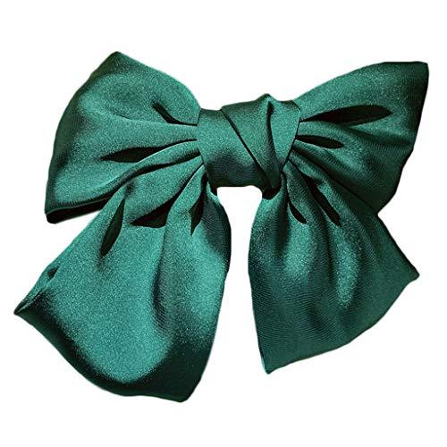 VIccoo Pince à Cheveux, Japonais Lolita Femmes Big Satin Bowknot Français Barrette Pince À Cheveux Ponytail Clamp - Vert